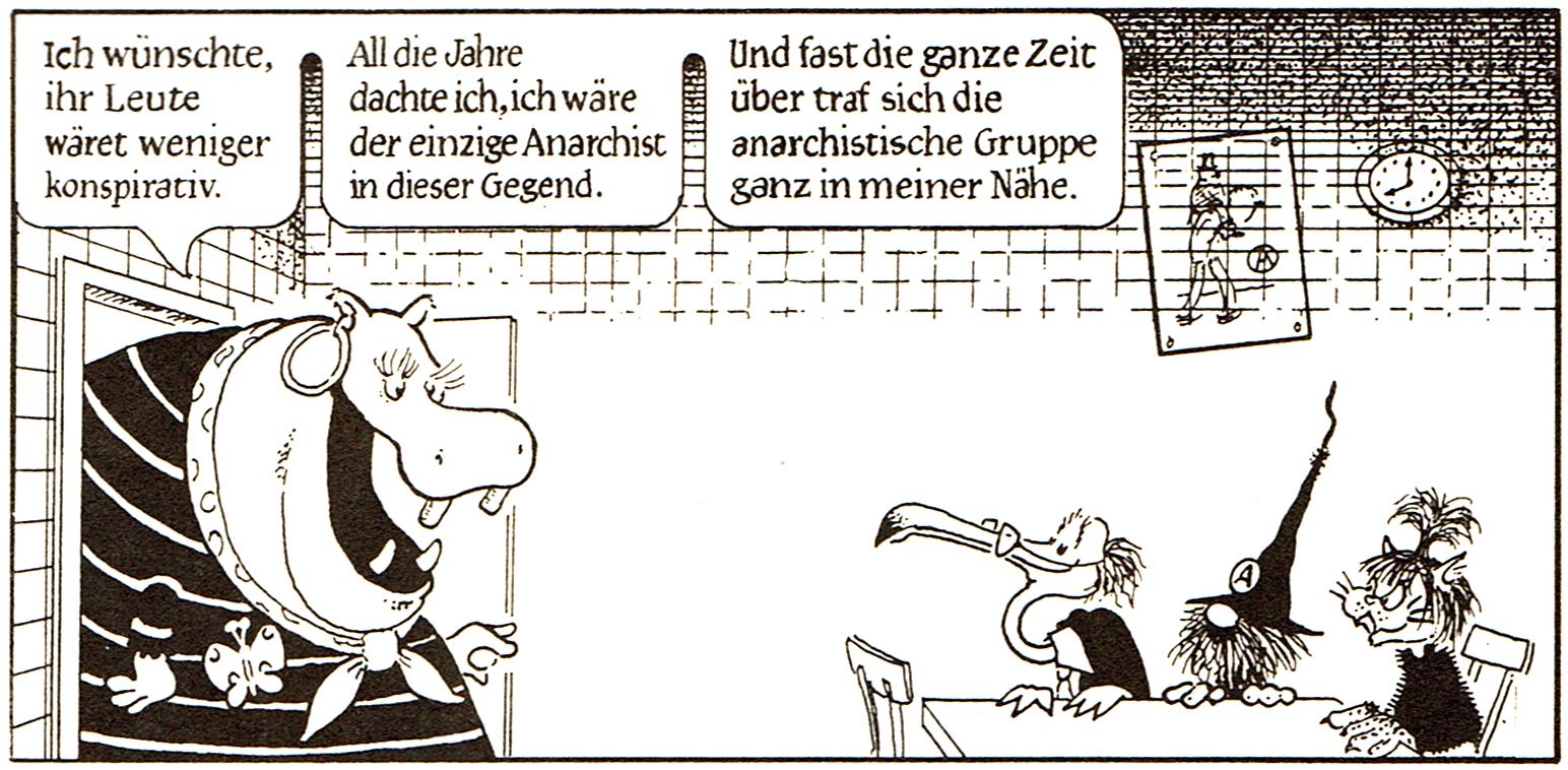 [Wildcat-Comic zur Konspirativität anarchistischer Gruppen]